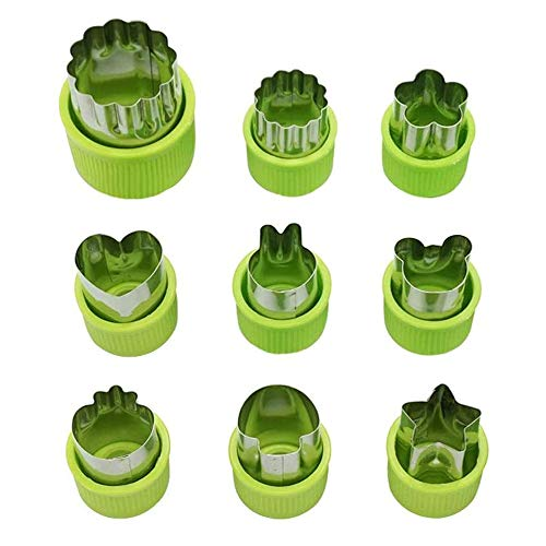 THETAG Cortador de verduras para niños, para pasteles, galletas, sushi, frutas, verduras, juego de 9 unidades (verde)