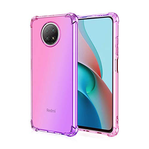 LEYAN Funda para Xiaomi Redmi Note 9T 5G, TPU Silicona Gradiente Transparente Protección Carcasa, Bumper Caso Case Cover con Shock- Absorción, Pink/Morado