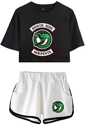 OLIPHEE Damen Riverdale Southside Serpents gedruckt Crop T-Shirt + Shorts Set Sport Anzug Schwarz Weiß S