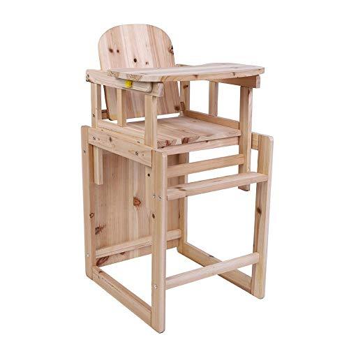 Baby Hoge Stoel,2 in 1 Feeding Stoel en Tafel Set Baby Houten Kinderstoel Solide Afneembare Kinderstoel Peuter Feeding Kinderstoel Veiligheidsstoel met Verstelbare Lade voor 4 Jaar Oude Baby, 46,5 × 39,7 × 83 cm