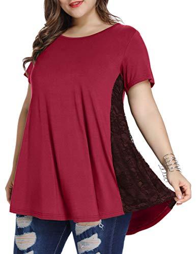 Larace - Blusa holgada de manga corta para mujer para usar con leggings