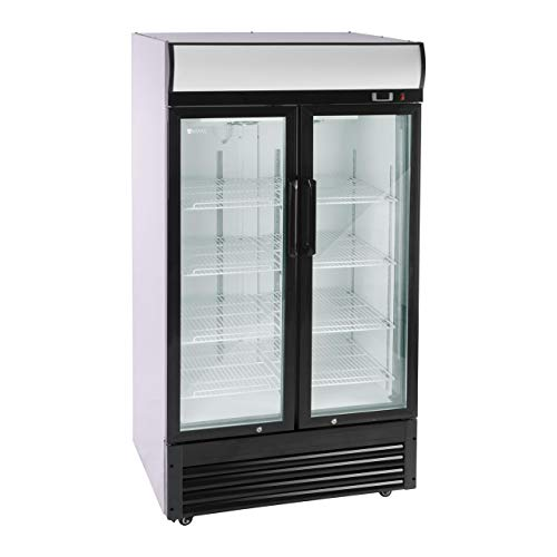 Royal Catering Flaschenkühlschrank Getränkekühlschrank mit Glastür RCGK-B630-2 (630 L, 350 W, 8 Einlagen je 53 x 39,5 cm, selbstschließende Schwenktüren, Temperaturbereich 2–8 °C)