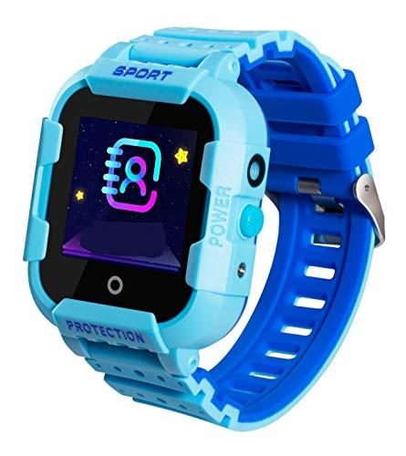JBC GPS-Telefon Kinder Uhr Kleiner Weltentdecker-Blau- Wasserdicht OHNE Abhörfunktion, SOS+Notruf+Telefonfunktion, Live GPS+LBS Positionierung, funktioniert weltweit, Anleitung+App+Support auf deutsch