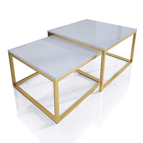 Yoshi 2in1 Kaffeetisch Gold Matt lackiertes Gestell 2-er Set Weiß Hochglanz HG Couchtisch Tisch Wohnzimmertisch Sofatisch Beistelltisch Mattrahmen (Gold Matt/Weiß Hochglanz)