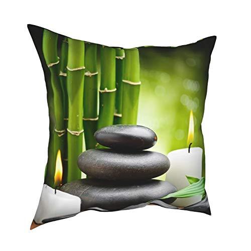 Still Life Zen Basalto Piedras y velas decorativas de doble cara cuadradas, 100% poliéster, 45 x 45 cm de elegante patrón para sala de estar, dormitorio, sofá, sofá