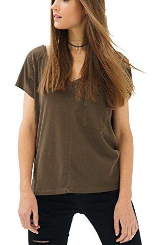 trueprodigy Casual Mujer Marca Camiseta Basico Ropa Retro Vintage Rock Vestir Moda Cuello V Manga Corta Slim Fit Designer Cool Urban Fashion t-Shirt Color Verde 1082504-0516-L