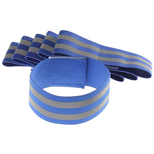[Juego de 6] Bandas Reflectantes Elásticas, 2 Reflectore Tiras, 35x5cm Pulseras Alta Visibilidad - Outdoor Sacudida Ciclismo Equitación Correr - Cinta Reflejo de Seguridad, Azul TKB5062 blue
