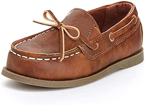 Tuboom Boys Slip on Loafer Canvas Casual Flats Leather Penny Loafer Dress Shoes for Driving Outdoor Walking Office Lace up Boat Shoes 818-1