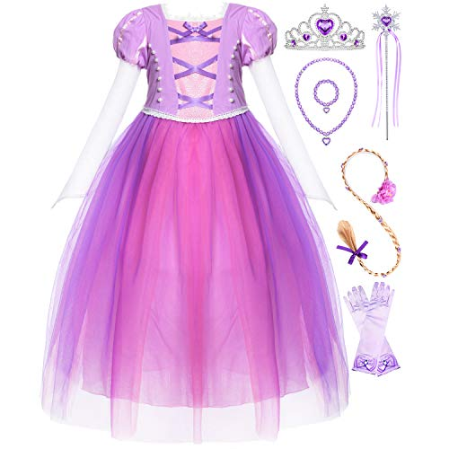 Long Hair Princess Rapunzel Costume Dress Up with Braid Wig and Tiara Accessories for Girls Party 4T 5T 4-5 Years Purple