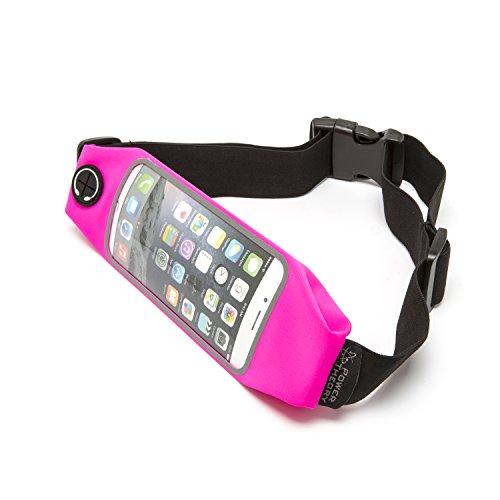 Power Theory Running Belt - Sport Laufgürtel/Handytasche, Wasserresistente Handy Bauchtasche Unisex Waist Lauftasche, Ideale für Smartphone Handy Fitness Jogging Fahrrad Tasche (1 Fach - Pink)