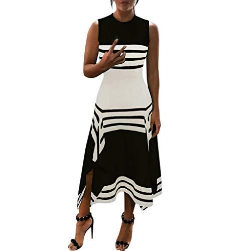 Beikoard Kleid Damen Streifen ärmellos Midi Kleider Casual Elegant Partykleider Rundhals Vestido A-Linien-Kleid Knie Weste Kleid