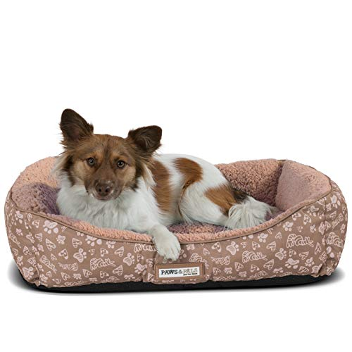 Paws & Pals Dog Bed for Pets & Cats - Printed Lounger with Self Warming Cozy Inner Cushion for Home, Crate & Travel - Small, Beige