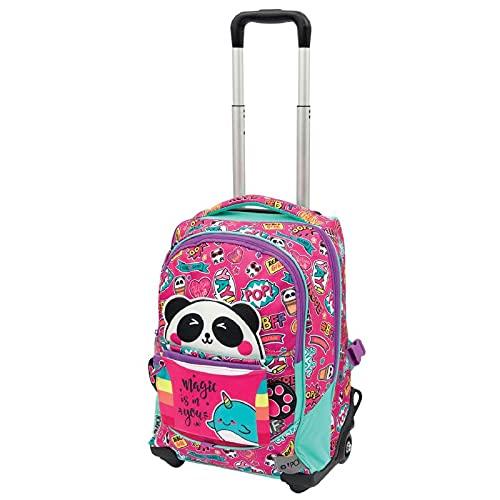 GoPop 21 Panda Magic Zaino Trolley con Schienale e Spallacci Imbottiti, 2 Ruote Light, Giochi Preziosi, Multicolore