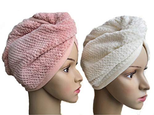 2 Pack Microfiber Hair Towel,Shower Cap,Head Wrap,Soft Absorbent Hair Towel Wrap Turban,Dry Hair Cap,Sleep Cap,Pineapple Wraps,Fluffy Hair Towel Fleece Head Towel for Women Girl Kids (Pink&Off White)
