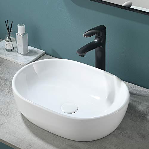 VESLA HOME Modern Oval 19'x14' White Porcelain Ceramic Bathroom Vessel Sink, Ceramic Basin Bathroom Sink for Lavatory Vanity Cabinet
