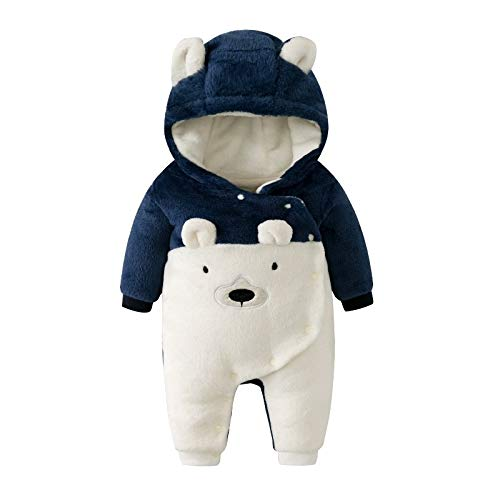 Pijamas Mameluco Invierno Ropa Linda bebé Espesar vellón Manga Larga Mamelucos Mono Babes Infantil Ropa Animal bebé (Color : Blue, Kid Size : 9M)