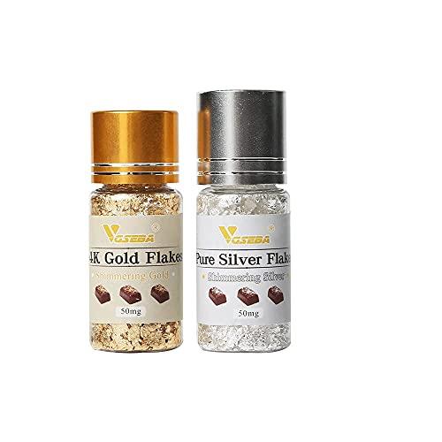 VGSEBA - Copos de oro comestibles auténticos para decoración de tartas, postres de chocolate, salud y spa, 2x50 mg