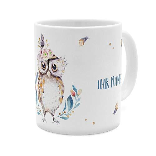 printplanet - Tasse mit Namen personalisiert - Motiv: Eule - individuell gestalten - Farbvariante Weiß