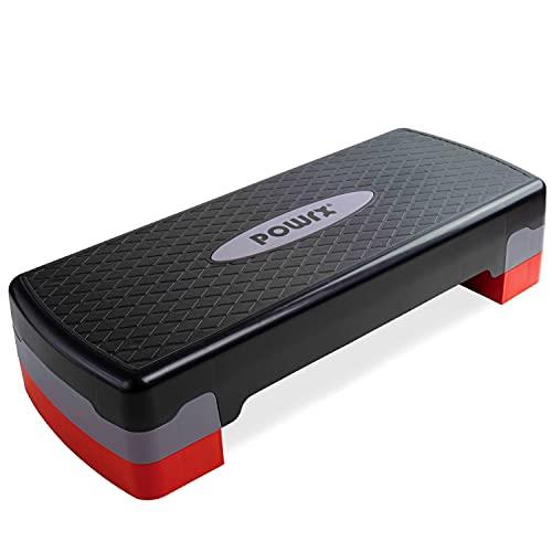 POWRX - Step fitness/aeróbic escalón (68 x 28,5 cm) - Stepper ideal para ejercicios en casa - Altura regulable y superficie antideslizante + PDF workout (Negro/Gris)
