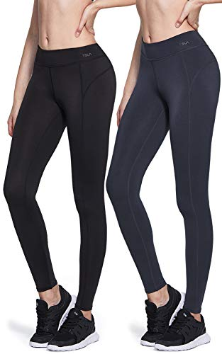 TSLA CLSL Women's Thermal Yoga Pants, Fleece Lined Compression Workout Leggings, Winter Athletic Running Tights, Wintergear 2pack(xup73) - Black/Charcoal, Large