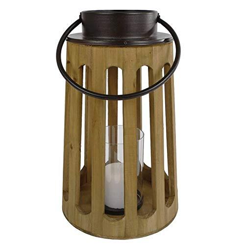 L'Héritier Du Temps Decoratieve lantaarn cilindrische lampion handvat ijzer kandelaar om op te hangen van natuurlijk hout en glazen bol 24 x 24 cm