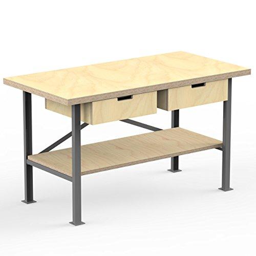 AUPROTEC Profi-Werkbank 1500 x 600 x 850 mm Arbeitsplatte Multiplex 40mm mit 2 Schubladen und Ablage Holz Werkbankplatte Massiv Multiplexplatte - Industriequalitäts-Werktisch