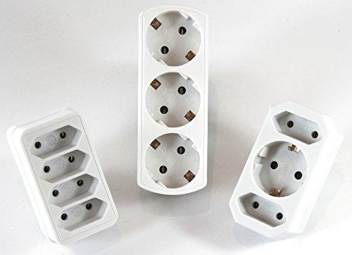 Répartiteur Adaptateur 4 prises + 3 prises + 2 Compartiment 1 x plus Prise Multi Fiche adaptatrice Contact 160 + 550 + 568