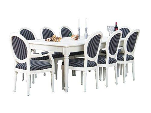 Dynamic24 11tlg. Essgruppe BAROCK Esstisch Esszimmertisch Tisch Erweiterbar massiv weiß