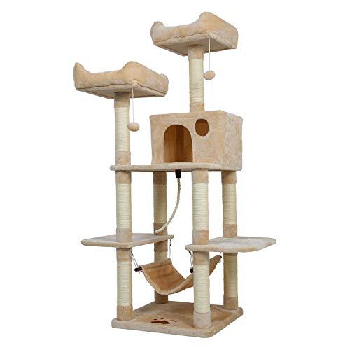Meerveil Kratzbaum XL, Großer Kletterbaum mit Kratzsisal, Stabiler Kratzbaum Katzenbaum, Säulen mit Natürlicher Sisal Umwickelt (Beige)