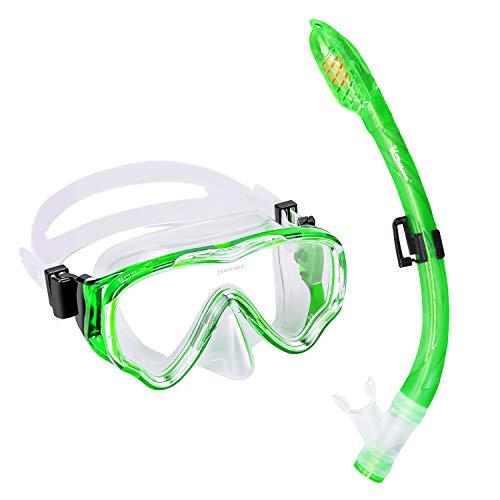 UPhitnis Schnorchelset Kinder - Taucherbrille Anti-Fog und Trocken Schnorchel - Anti-Leck Tauchmaske Dry Schnorchel - Schnorcheln Set für Jungen Mädchen - Grün