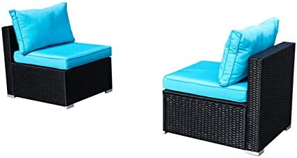 Best Outdoor Patio Furniture 2-Pieces PE Rattan Wicker Sectional Blue Cushioned Sofa Sets