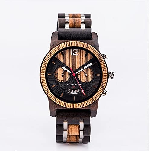 yuyan Reloj de Madera para Hombres, Tiempo Binocular, Calendario, Luminoso, Reloj de Madera Precioso, Movimiento a Mano, Movimiento de Cuarzo japonés
