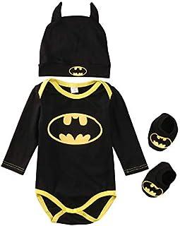 MINASAN, Conjunto Mameluco niño, bebé Niños Manga Corta Batman Romper Sombrero Zapatos y Calcetines Conjunto de Ropa de Tres Piezas