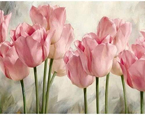 HSYE Kit Completo de Pintura de Diamante 5D 5D DIY Diamante Pintura Adulto Rosa tulipán Diamante Pintura número Cristal Rhinestone Kit artesanías decoración del hogar 40x50cm (sin Marco) -30x40_cm