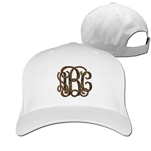 Monogramme Motif camouflage Vert à Paillettes initiales Hip Hop casquettes de baseball réglable - Blanc - Taille Unique