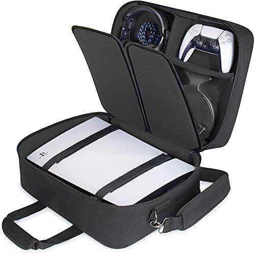 USA GEAR Custodia PS5 - Custodia per Console Compatibile con Playstation 5 e PS5 Digital Edition con Interni Personalizzabili per Controller, Giochi, Cuffie da Gioco e Accessori di Gioco (Nero)