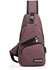 FANDARE Nieuwe Sling Bag Unisex Borst Pack voor Heren/Vrouwen Crossbody Tas met USB, Oortelefoon Gat Een Strap Rugzak voor Reizen Fietsen Camping Wandelen Waterdicht Polyester