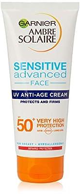 Garnier Ambre Solaire Sensitive Anti Ageing Hyaluronic Acid Face Sun Cream SPF50+, High Sun Protection for Face SPF50+ 100 ml