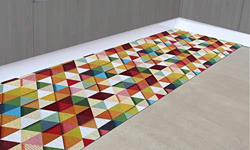 IlGruppone Tappeto passatoia Fantasia Made in Italy Antiscivolo Lavabile Aderente Triangoli Multicolore - 50x250cm - Triangoli Multicolor