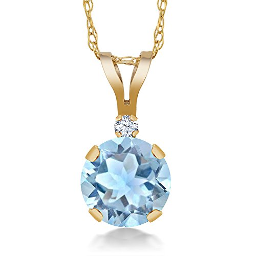 Gem Stone King 14K Yellow Gold Sky Blue Aquamarine and White Created Sapphire Pendant Necklace For Women (0.77 Ct Round with 18 Inch Chain)