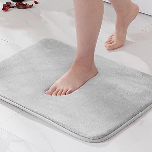 MIULEE 1 Pieza Alfombra de Baño Microfibra Antideslizante Alfombra Suave Super Absorbente Color Sólido para Baño Dormitorio Pasillo Sala de Estar Cocina 40x60cm Gris Claro