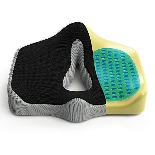 EFFECTMIND Sitzkissen - perfekt für Bürostuhl, Rollstuhl, Auto - wohltuend für Rücken und Steißbein - 100% Memory-Foam mit Gel-Einlage + Broschüre
