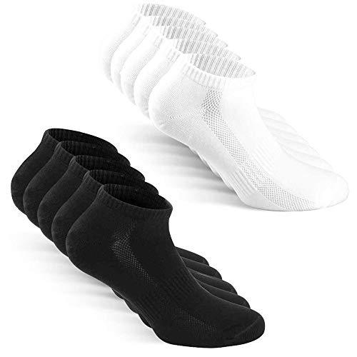 TUUHAW Sneaker Socken Herren Damen Sportsocken 10Paar Halbsocken Kurze Atmungsaktive Baumwolle Schwarz-Weiß 43-46