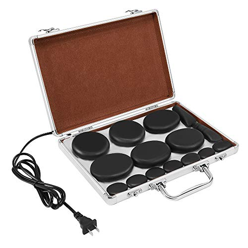 Hot Stone Massage Set, 18 Pieces of Basalt hot Stone with Heater kit, for Professional or Home spa,...