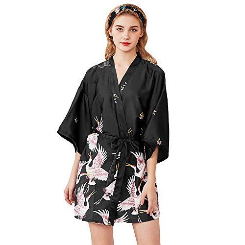Bata de Noche para Mujer, Bata de Kimono de satén, Bata de Kimono Corta, Pijama de Mujer, Ropa de Dormir, camisón de satén
