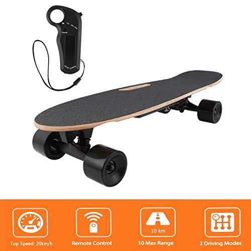 Longboard E Komplettboard Elektrisches City Skateboards Elektrolongboard mit Fernbedienung und 250W Motor | Reichweite 10 km, Max. Geschwindigkeit 20km/h (Schwarz-Braun)
