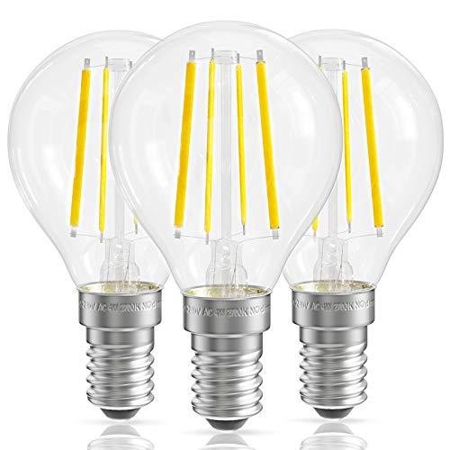 QNINE LED Filament E14, ersetzt 25W-40W Glühbirne E14 Warmweiß, 3 Stück, 4W Vintage Birnen, 2700K, 400LM, 220-240V, Klarglas, nicht Dimmbar, 45mm in Tropfenform