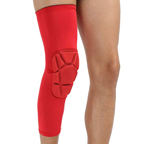 MISS&YG Kniepad Kniescheiben, Crashproof Kneepad, Basketball Leg Knee Sleeves Pads Compression Protector,red(Onlyone),XL