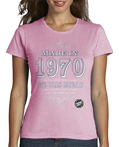 latostadora - Camiseta Made In 1970 para Mujer Rosa M