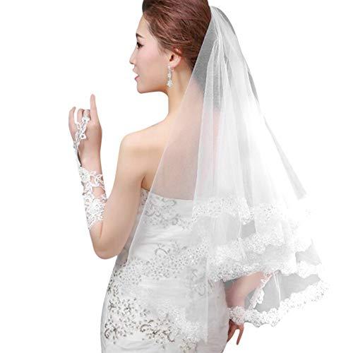 Brautschleier Hochzeit Braut Lange Schleier Damen Frauen Fascinator Pailletten Spitze Hochzeitsschleier Netzgewebe Kopfschmuck Haarschmuck mit Länge 1.5 Meter Hochzeit Kostüm Accessoires